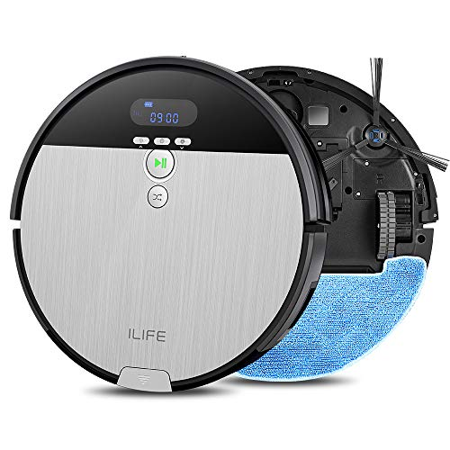 ILIFE V8s Robotic Vacuum Cleaner with Floor Mopping, 0.75L Dustbin, LCD Display and Multi-Task Schedule Automatic Mop Robot